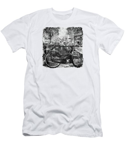 Amsterdam Bicycle Black And White Men's T-Shirt (Slim Fit) by Marian Voicu