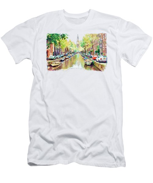 Amsterdam Canal 2 Men's T-Shirt (Slim Fit) by Marian Voicu