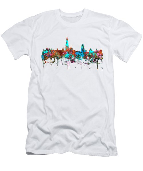 Antwerp Belgium Skyline Men's T-Shirt (Slim Fit) by Marlene Watson