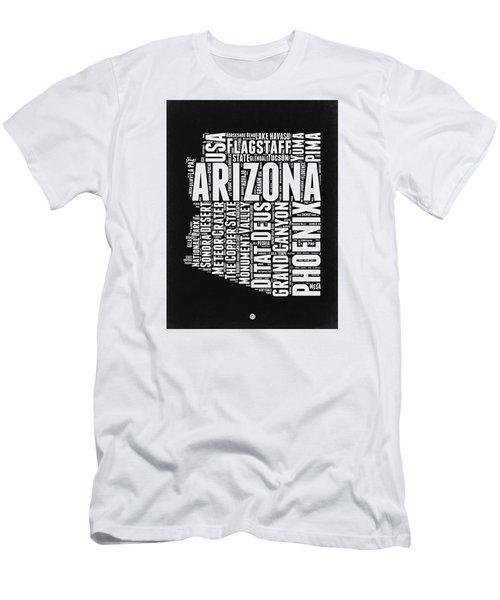Arizona Black And White Word Cloud Map Men's T-Shirt (Slim Fit) by Naxart Studio