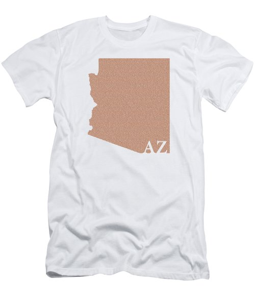 Arizona State Map With Text Of Constitution Men's T-Shirt (Slim Fit) by Design Turnpike