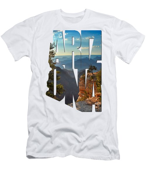 Arizona Typography - Sun Setting On Grand Canyon Men's T-Shirt (Slim Fit) by Gregory Ballos