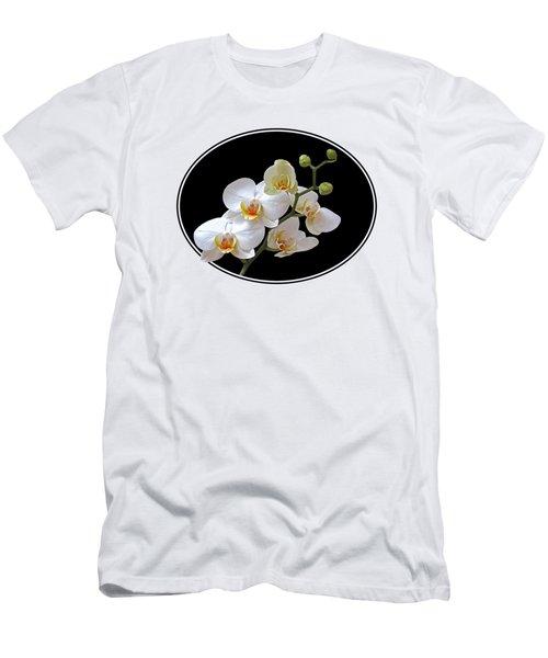 White Orchids On Ocean Blue Men's T-Shirt (Slim Fit) by Gill Billington