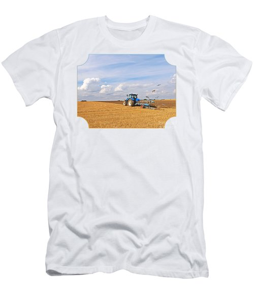 Ploughing After The Harvest Men's T-Shirt (Slim Fit) by Gill Billington