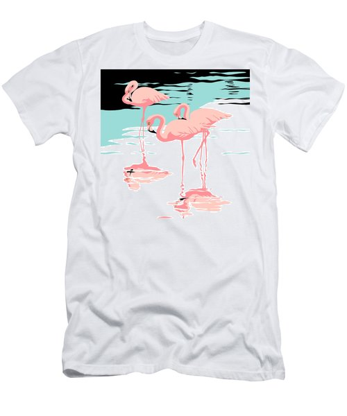 Pink Flamingos Tropical 1980s Abstract Pop Art Nouveau Graphic Art Retro Stylized Florida Print Men's T-Shirt (Slim Fit) by Walt Curlee