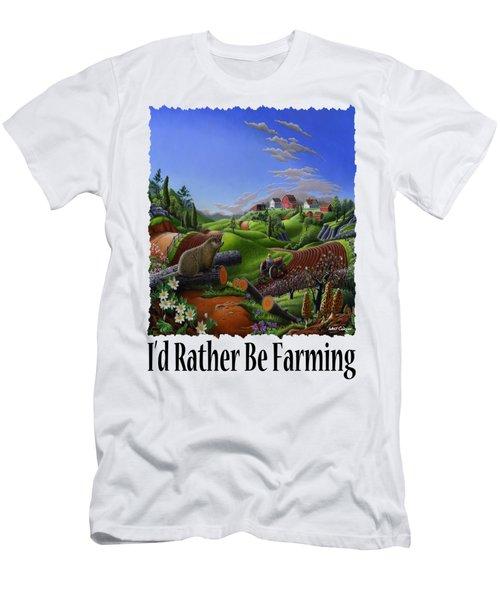 Id Rather Be Farming - Springtime Groundhog Farm Landscape 1 Men's T-Shirt (Slim Fit) by Walt Curlee