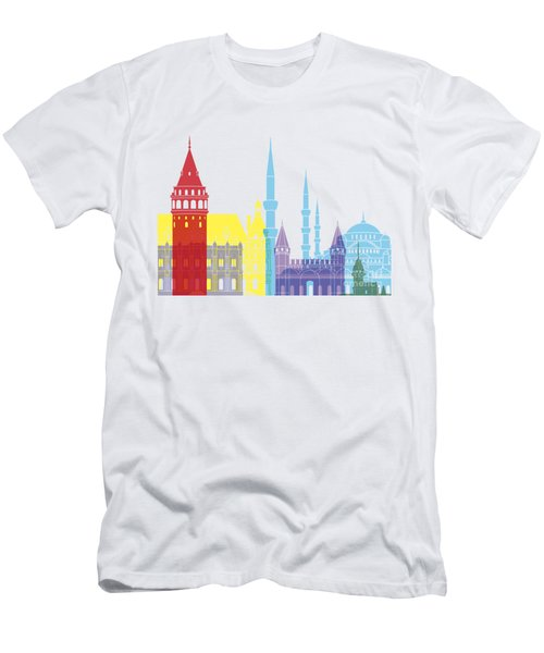 Istanbul Skyline Pop Men's T-Shirt (Slim Fit) by Pablo Romero