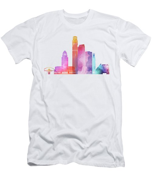 Los Angeles Landmarks Watercolor Poster Men's T-Shirt (Slim Fit) by Pablo Romero