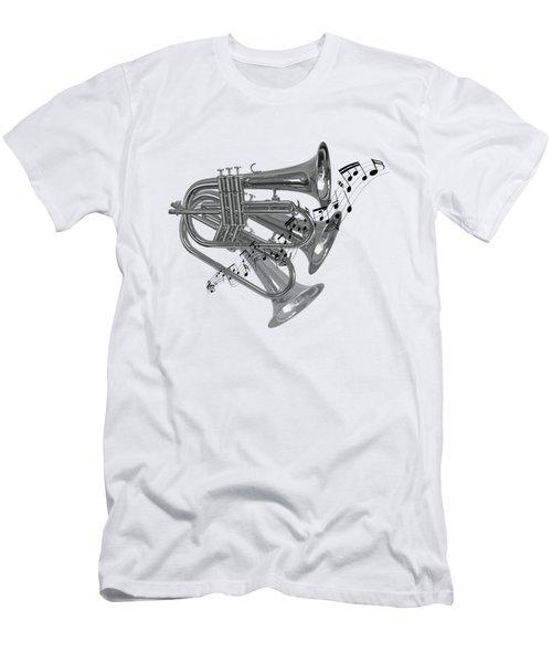 Trumpet Fanfare Black And White Men's T-Shirt (Slim Fit) by Gill Billington