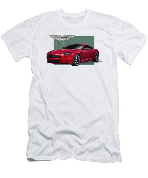 Aston Martin  D B S  V 12  With 3 D Badge  Men's T-Shirt (Slim Fit) by Serge Averbukh