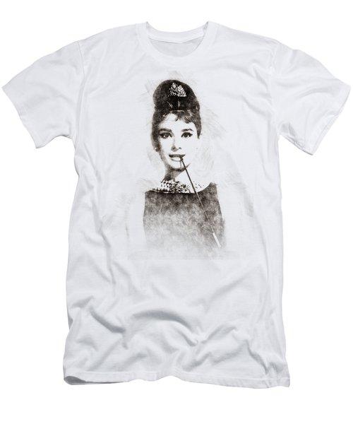 Audrey Hepburn Portrait 01 Men's T-Shirt (Slim Fit) by Pablo Romero