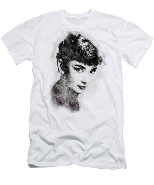 Audrey Hepburn Portrait 03 Men's T-Shirt (Slim Fit) by Pablo Romero