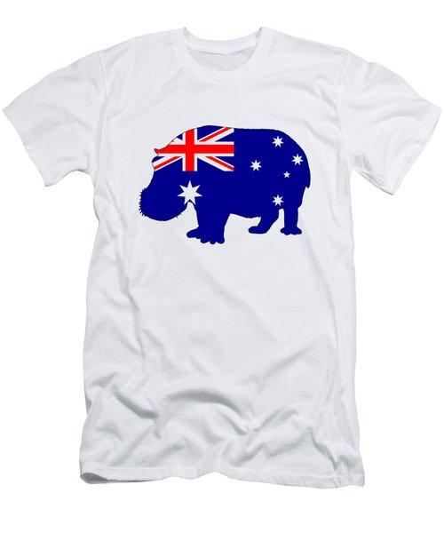 Australian Flag - Hippopotamus Men's T-Shirt (Slim Fit) by Mordax Furittus