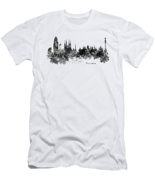 Barcelona Black And White Watercolor Skyline Men's T-Shirt (Slim Fit) by Marian Voicu