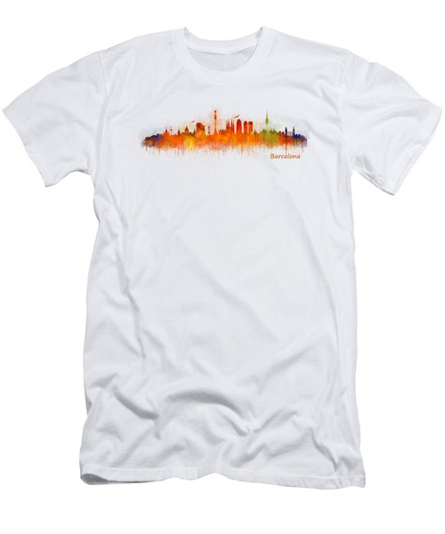 Barcelona City Skyline Hq _v3 Men's T-Shirt (Slim Fit) by HQ Photo