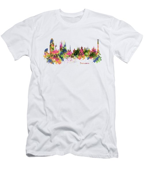 Barcelona Watercolor Skyline Men's T-Shirt (Slim Fit) by Marian Voicu