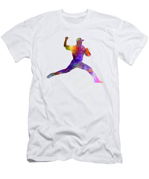Baseball Player Throwing A Ball 01 Men's T-Shirt (Slim Fit) by Pablo Romero