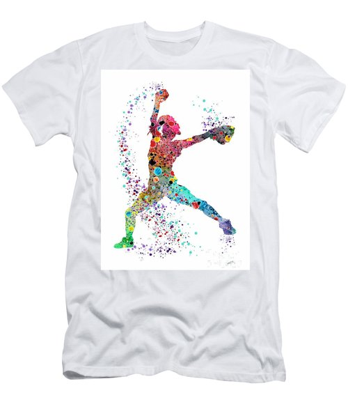 Baseball Softball Pitcher Watercolor Print Men's T-Shirt (Slim Fit) by Svetla Tancheva