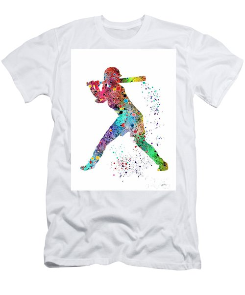 Baseball Softball Player Men's T-Shirt (Slim Fit) by Svetla Tancheva