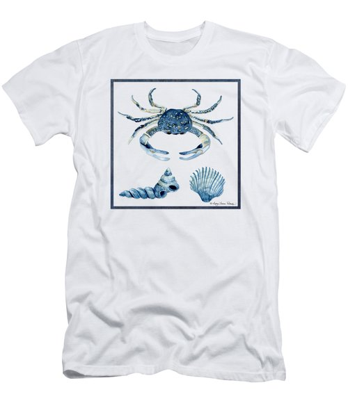 Beach House Sea Life Crab Turban Shell N Scallop Men's T-Shirt (Slim Fit) by Audrey Jeanne Roberts