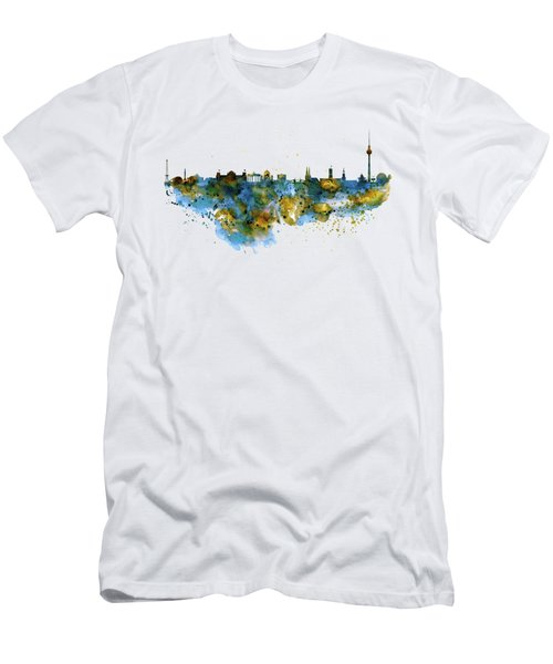 Berlin Watercolor Skyline Men's T-Shirt (Slim Fit) by Marian Voicu