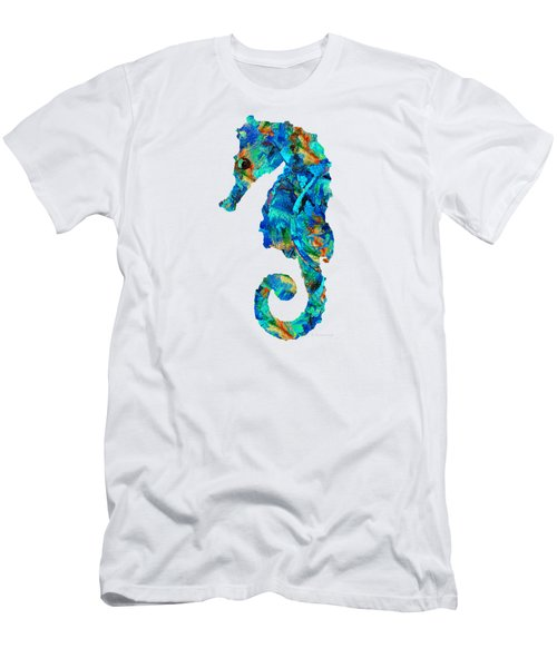Blue Seahorse Art By Sharon Cummings Men's T-Shirt (Slim Fit) by Sharon Cummings