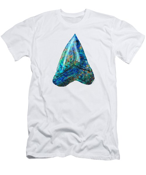 Blue Shark Tooth Art By Sharon Cummings Men's T-Shirt (Slim Fit) by Sharon Cummings