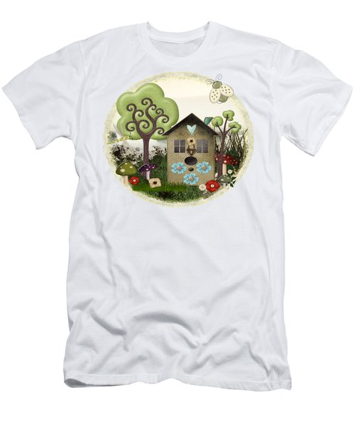 Bonnie Memories Whimsical Mixed Media Men's T-Shirt (Slim Fit) by Sharon and Renee Lozen