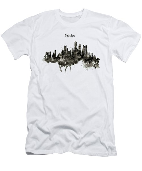Boston Skyline Black And White Men's T-Shirt (Slim Fit) by Marian Voicu