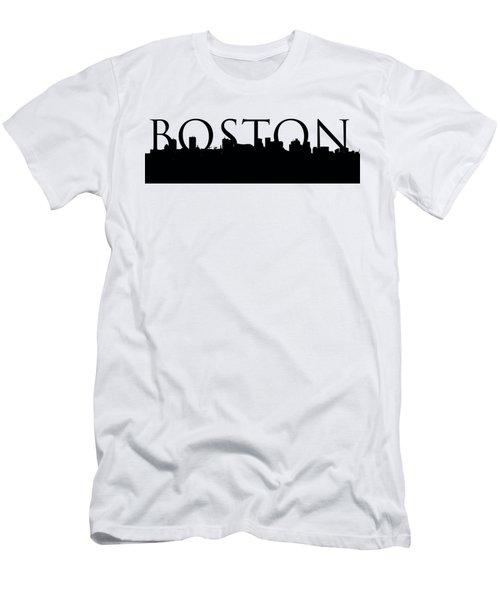 Boston Skyline Outline With Logo Men's T-Shirt (Slim Fit) by Joann Vitali