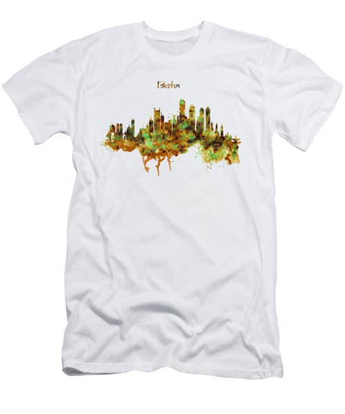 Boston Watercolor Skyline Men's T-Shirt (Slim Fit) by Marian Voicu
