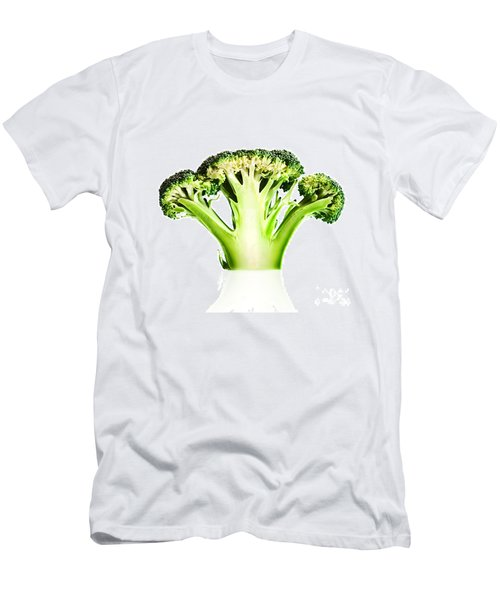 Broccoli Cutaway On White Men's T-Shirt (Slim Fit) by Johan Swanepoel