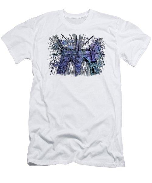 Brooklyn Bridge Berry Blues 3 Dimensional Men's T-Shirt (Slim Fit) by Di Designs