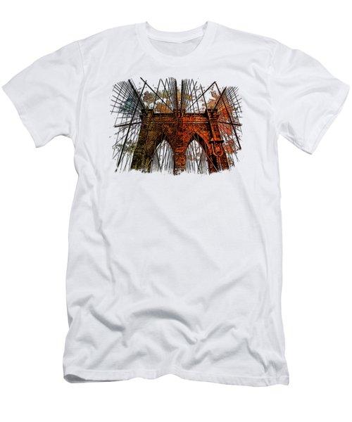 Brooklyn Bridge Earthy Rainbow 3 Dimensional Men's T-Shirt (Slim Fit) by Di Designs