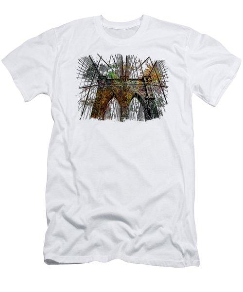 Brooklyn Bridge Muted Rainbow 3 Dimensional Men's T-Shirt (Slim Fit) by Di Designs