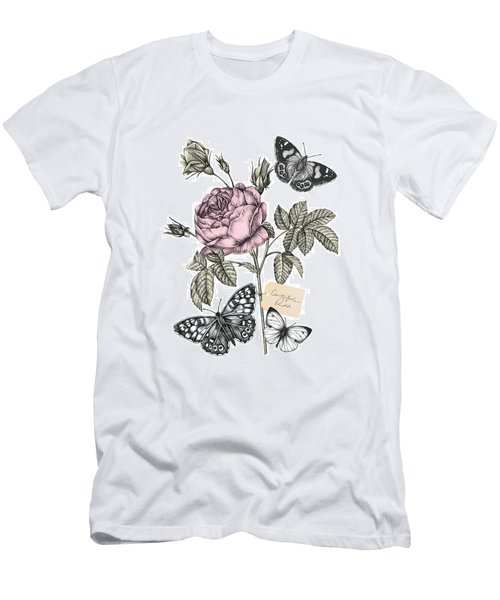 Cabbage Rose Men's T-Shirt (Slim Fit) by Stephanie Davies