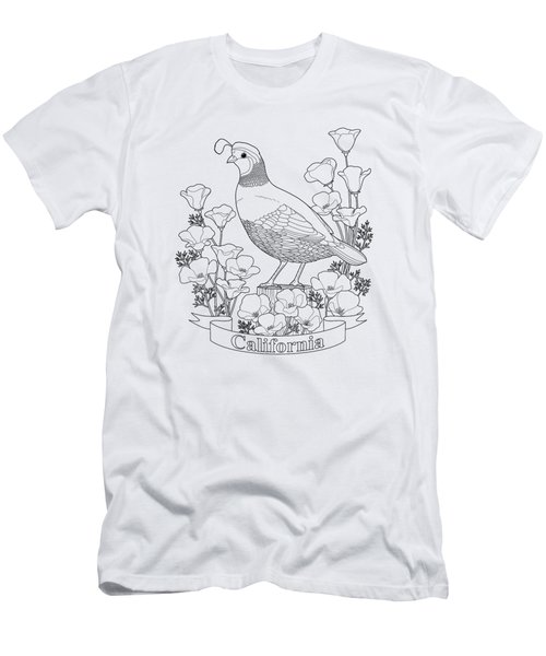 California State Bird And Flower Coloring Page Men's T-Shirt (Slim Fit) by Crista Forest