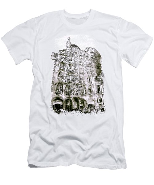 Casa Batllo Barcelona Black And White Men's T-Shirt (Slim Fit) by Marian Voicu