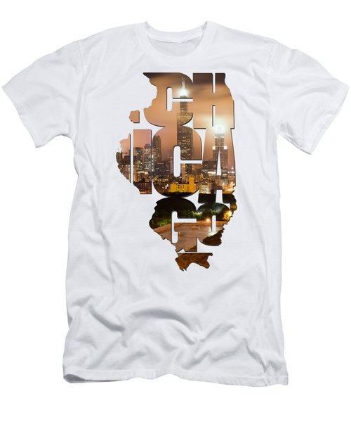 Chicago Illinois Typography - Chicago Skyline From The Rooftop Men's T-Shirt (Slim Fit) by Gregory Ballos