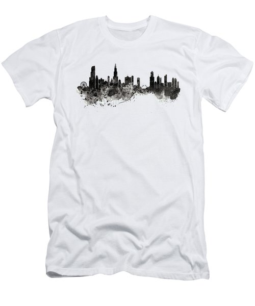 Chicago Skyline Black And White Men's T-Shirt (Slim Fit) by Marian Voicu