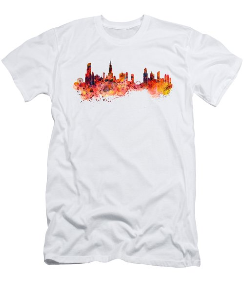 Chicago Watercolor Skyline Men's T-Shirt (Slim Fit) by Marian Voicu