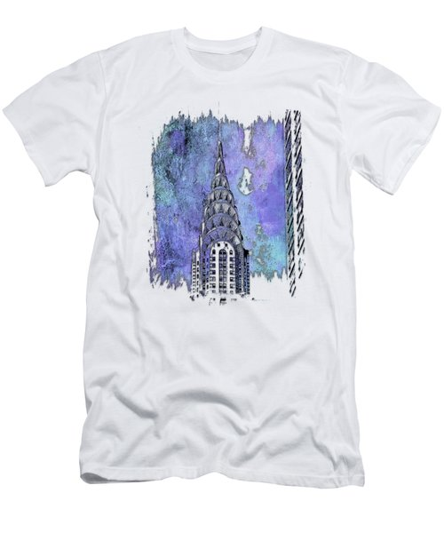 Chrysler Spire Berry Blues 3 Dimensional Men's T-Shirt (Slim Fit) by Di Designs