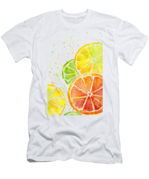 Citrus Fruit Watercolor Men's T-Shirt (Slim Fit) by Olga Shvartsur
