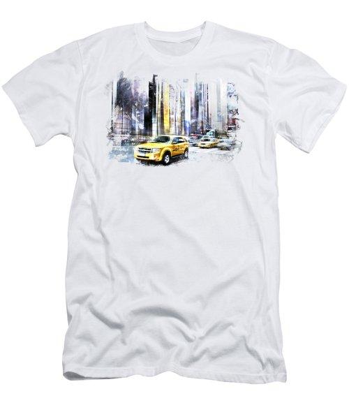 City-art Times Square II Men's T-Shirt (Slim Fit) by Melanie Viola