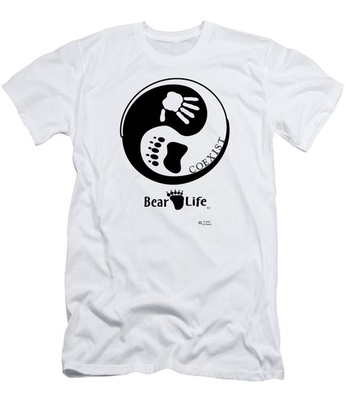 Coexist-yin Yang Bear Life Men's T-Shirt (Slim Fit) by PJ Jackson