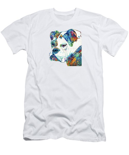 Colorful English Bulldog Art By Sharon Cummings Men's T-Shirt (Slim Fit) by Sharon Cummings