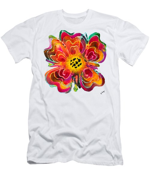 Colorful Flower Art - Summer Love By Sharon Cummings Men's T-Shirt (Slim Fit) by Sharon Cummings