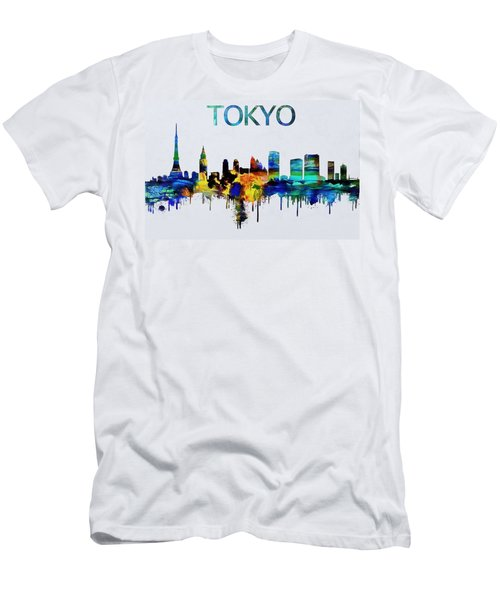 Colorful Tokyo Skyline Silhouette Men's T-Shirt (Slim Fit) by Dan Sproul
