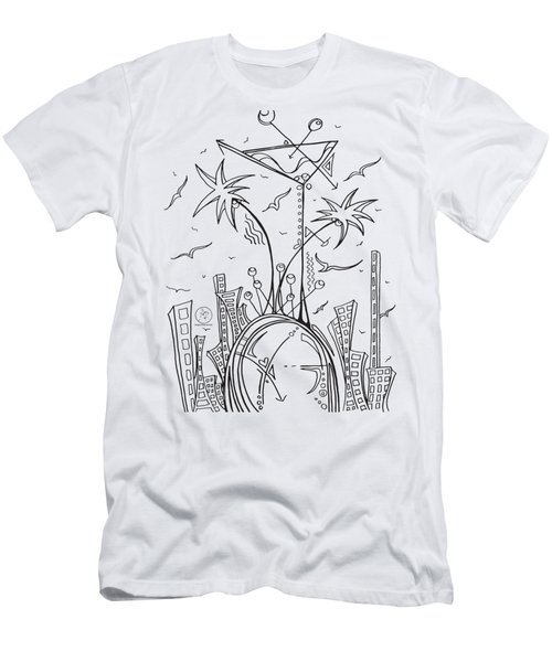 Coloring Page With Beautiful City Martini Drawing By Megan Duncanson Men's T-Shirt (Slim Fit) by Megan Duncanson