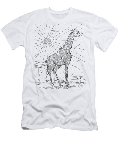 Coloring Page With Beautiful Giraffe Drawing By Megan Duncanson Men's T-Shirt (Slim Fit) by Megan Duncanson